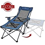 XGEAR 2 in 1 Camping Chair with Footrest Recliner Folding Chaise Lounge Chair (Footrest Can Transform to Side Table) Very Stable, for Fishing, Beach, Picnics (Navy Blue)