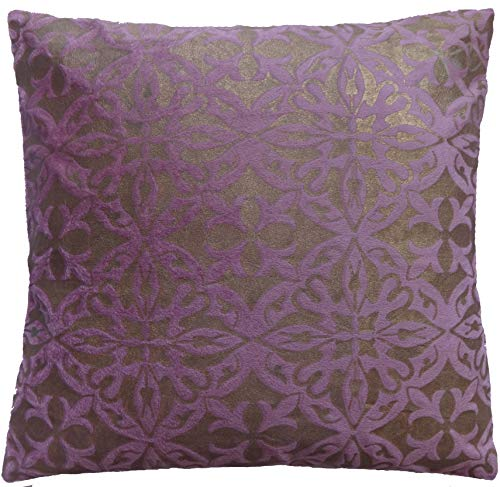 Saffron Decorative Cushion Cover Throw Pillowcase Mauve Velvet 26x26 inch (66x66 cm) Removable COVER, Insert not included