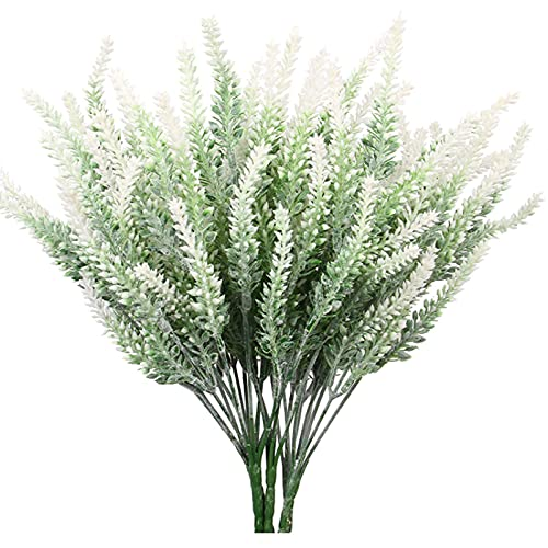 CHILD FENCE Artificial Plants Lavender Faux, 10Pcs Artificial Lavender Bouquet UV Resistant Fake Shrubs Greenery Bushes for Garden Office Wedding Home Kitchen Indoor Outdoor Deco,C
