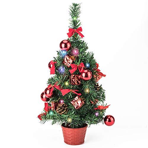 Amasava /Árbol de Navidad Mini Abeto con 40 LED y Decoracion Plateadas Adornos para /Árboles de Navidad Regalo Cono de Abeto Blanco 45CM Plata Decoraciones para el Hogar de Navidad