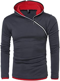 Winwinus Men Long Sleeve Hit Color Inclined Zipper Fit Tunic Hoodie Sweatshirts