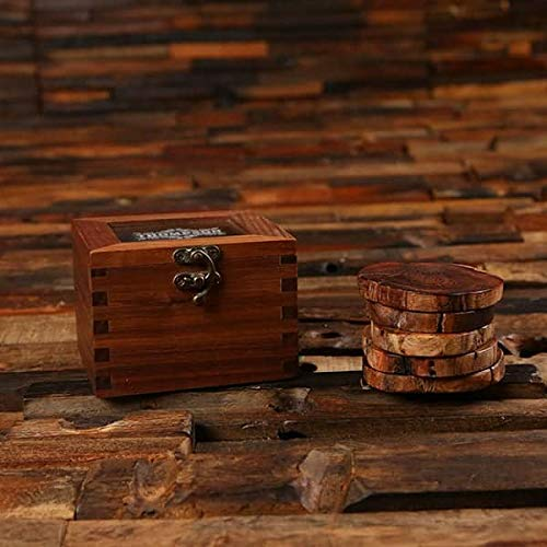 Branded Walnut Slice Rustic Coasters Windowed Box Super popular specialty store with Miami Mall Gift