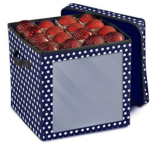 Weihnachtskugeln Aufbewahrungsbox für 64 Kugeln, Weihnachten Ornament Christbaumkugel Box mit Reißverschluss und Griff, Weihnachtsschmuck Baumschmuck Aufhänger Aufbewahrung Organisation (C)