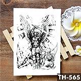 Tatuaje temporal a prueba de agua pegatina alas ángel ángel valiente caballero guerrero flash tatuaje cuerpo arte brazo tatuaje falso 10 piezas B
