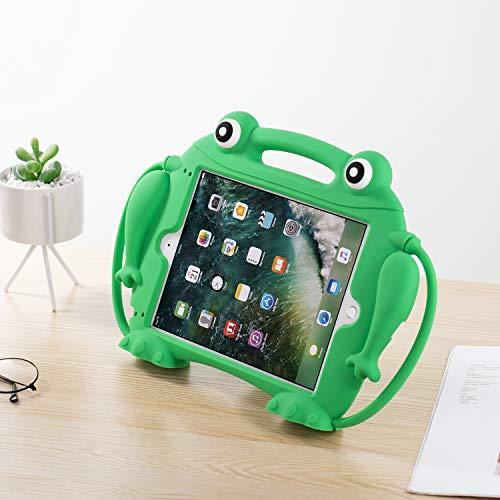 Brand.it Frosch Kinder iPad Hülle passend für iPad 9.7 stossschutz stossgeschützt Fallschutz Stoßfest Silikon Handgriff Ständer Schutzhülle grün