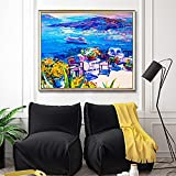 CYTTOU Pintura al óleo abstracta nórdica Ciudad de las costas y velero Lienzo de lona Oficina de la oficina Sala de estar Corredor Decoración del hogar Mural 20x20 pulgadas Sin marco