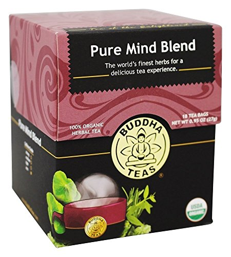 Buddha Teas Organic Pure Mind Blend Tea 18 Bags/Box (Pack of 2)