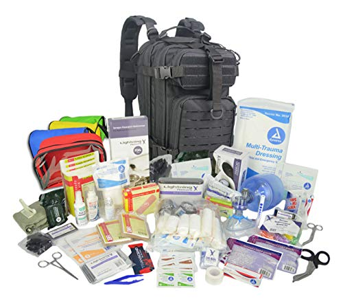 Lightning X Stocked EMS/EMT Trauma & Bleeding First Aid Responder Medical Backpack + Kit + Pouches - Black