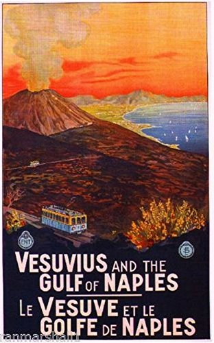 Vesuvius Gulf of Naples Italy Vintage Travel Advertisement Poster Picture Print