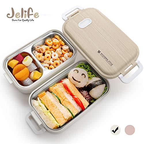 Jelife Bento Box Kinder Lunchbox Brotdose mit 3 Unterteilungen Zweilagig Edelstahlbehälter für Schule Arbeit Picknick Reisen Unterwegs Spülmaschinegeeignet