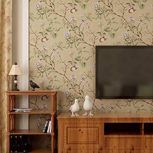 CBCJU Amerikanischen Land vlies reines Papier tapete Studie Wohnzimmer Hochzeit Schlafzimmer Nacht Hintergrund Wand Papier apfelbaum Muster 53 * 1000 cm beige