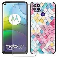 """用FZYMケース Motorola Moto G9 Power + 強化ガラススクリーン保護フィルム 、黒なソフトシリコンケース保護TPUカバーのケースカバー 用の Motorola Moto G9 Power (6.8"""") - LLM5"""