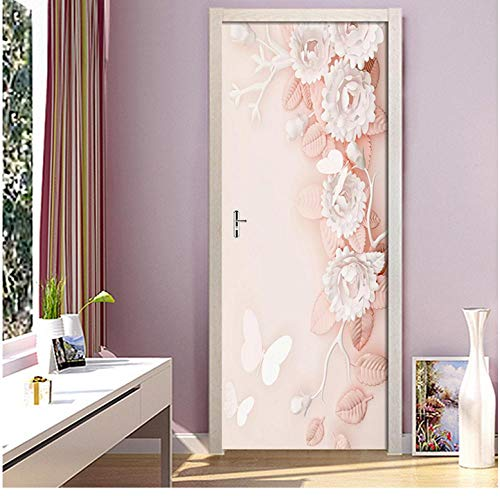 Muurschildering DIY sticker creatieve PVC behang bloem deur sticker zelfklevende print voor vernieuwen van kunstwerk afbeelding wooncultuur meisjes kamer 85 * 200cm