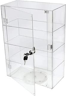 PC3721® 1 Vitrina de acrílico transparente de alto brillo con puerta frontal, cerradura de seguridad y plato giratorio fijo DB089TT-8IN