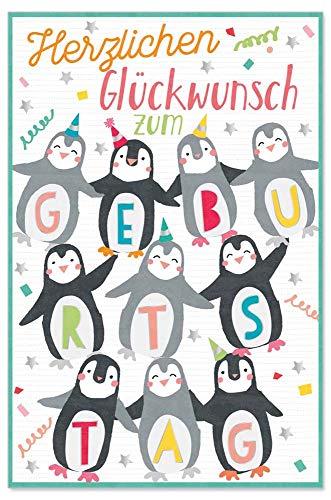 ARTEBENE Grußkarte Geburtstagskarte Glückwunschkarte Präge Geburtstag Pinguine