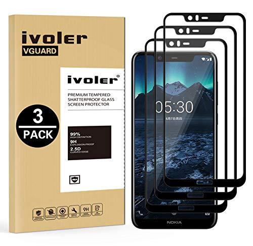 VGUARD [3 Stücke] Panzerglas Schutzfolie für Nokia 5.1 Plus, [Volle Bedeckung] Panzerglasfolie Folie Hartglas Gehärtetem Glas BildschirmPanzerglas für Nokia 5.1 Plus