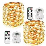 2er Stück 10M 100 LED Lichterkette 8 Modi Außenbeleuchtung Batteriebetrieben Kupferdraht Wasserdicht IP67 mit Fernbedienung und Timer für...
