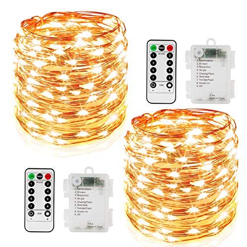 2er Stück 10M 100 LED Lichterkette 8 Modi Außenbeleuchtung Batteriebetrieben Kupferdraht Wasserdicht IP67 mit Fernbedienung und Timer für Outdoor, Innenbeleuchtung,Weihnacht und Deko-Warmweiß