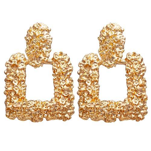 Fenverk 2018 Trend Fashion Ohrringe Frauen Retro Metall Ohrringe geometrische groß Anhänger Ohrringe (Gold)