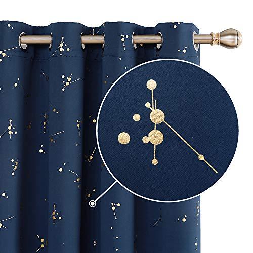 Deconovo Tende Oscuranti Termiche Isolanti Tende Stampate dei Fiori Finestre Soggiorno con Occhielli per Camera da Letto 2 Pannelli 140x290cm Blu Navy