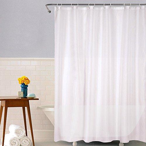 mixigoo Duschvorhang Wasserdicht Duschvorhang Anti-Schimmel PEVA Mildewproof Waschbar Bad Vorhang Badezimmer Duschvorhang mit verstärktem Saum 180 x 200 cm, mit 12 Ringe, Weiß