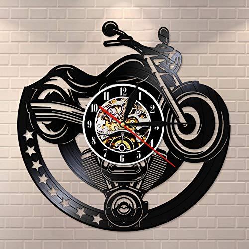 LIMN Reloj de Pared con Disco de Vinilo para Motocicleta, diseño artístico único, Reloj Vintage, Reloj para Hombre, Cueva, Taller, decoración, Regalo para Motociclistas