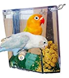 Birds LOVE Bird Feeder Seed Catcher Tray Hanging Cup Food Dish for Cage for Small Birds Lovebirds Cockatiels Canaries Sun Conures with Wooden Perch - Blue with Green Bottom