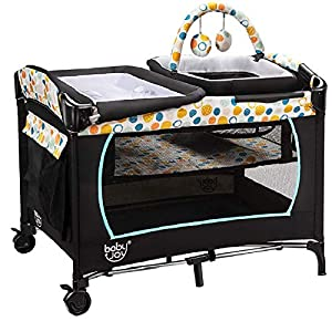 BABY JOY 4 in 1 Portable Pack and Play with Bassinet, Foldable Baby Playard Nursery Center with Changing Table, Cradle, Wheels and Brakes, Cute Toys, Oxford Bag (Blue)