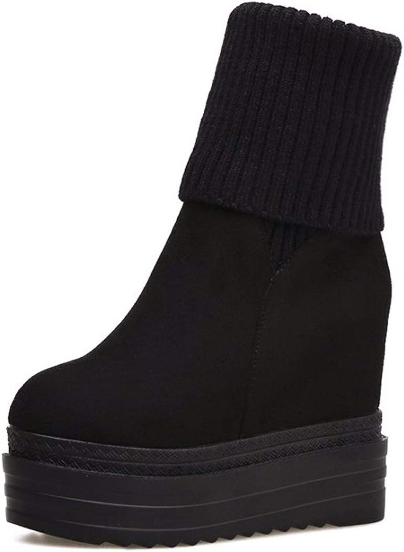 HBDLH Damenschuhe Dicksohlige Schuhe Heel 11Cm Super - High - Heels Martin Stiefel Wolle Den Mund Wildleder Hang Hacken Mid - Stiefel Innere Beauftragte Baumwolle Schuhe  | Bekannt für seine hervorragende Qualität
