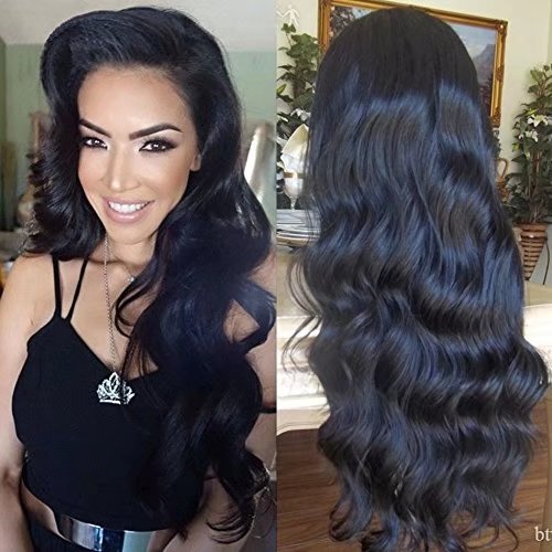 Hot Glueless Brazilian Perruque Cheveux Humain Full Lace Wigs Loose Body Wave Sans Colle 150% Density Lace Wigs with Baby Hair (16 inch,1B)