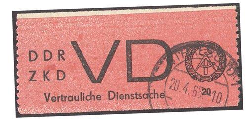 Goldhahn DDR Dienstmarke Nr. VD 1 A gestempelt in Bedarfsqualität- Briefmarke...