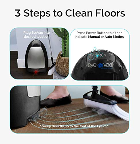 EyeVac Home - Touchless Stationary Vacuum, Dual High Efficiency Filtration, Corded, Bagless, Automatic Sensors, 1000 Watt - Black