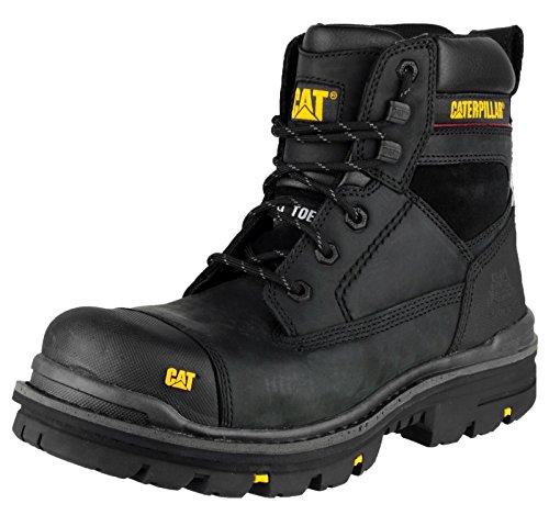 Botas de trabajo de seguridad para hombre de gato Caterpillar con puntera de acero, color negro, talla 10 🔥