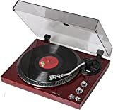 TechPlay TCP4530 Analog Turntable with Built-in Phono Pre-Amplifier, by-Pass Selector, Auto-Return, Aluminum Platter and Direct PC Link, with Audio-Technica's AT3600L Cartridge (Piano Cherry)