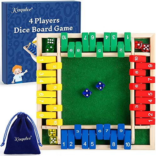 Kaqulec Shut The Box Dice Game Wooden Board Dice Game a Classic 4 Sided Family Math Game with 10 Dices for Kids Adults 2-4 Players…
