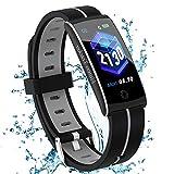 Fitness Armband mit Pulsmesser Blutdruckmessung Fitness Uhr Wasserdicht IP67 Fitness Tracker Schlafmonitor Schrittzähler Kalorienzähler Smart Armband Uhr Herren Damen (F10C-Grey)