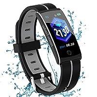【Mode humanisiertes Design】0,96 Zoll IPS-Farbbildschirm mit hochempfindlichen Touch-Tasten. H Band lässt Ihr Armband nicht eintönig werden. Wenn Sie Ihr Handgelenk zu sich selbst drehen, wird der Bildschirm automatisch heller. Mit der wasserdichten S...