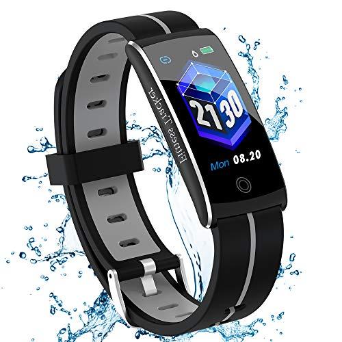 Fitness Armband mit Pulsmesser Blutdruckmessung Fitness Uhr Wasserdicht IP68 Fitness Tracker mit Pulsuhren Aktivitätstracker Schlafmonitor Schrittzähler Kalorienzähler Smart Armband uhr Herren Damen