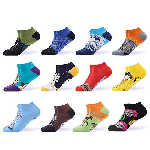 WeciBor Calcetines cortos Hombre Estampados Hombres Ocasionales Calcetines Divertidos Impresos de Algodón de Pintura de Arte Calcetines Verano Tobillo Calcetines de Colores de moda (ESB052-47)