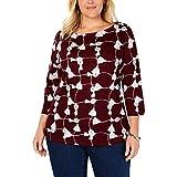 Charter Club Womens Tassel Grid Basic T-Shirt, Red, 2X