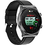 Smart Watch 1.3-inch Touch Screen Phone Call Watches Bluetooth Heart Rate Monitor Sleep Tracker Blood Pressure Monitor Blood Oxygen Fitness Tracker for Men Women Leather Strap