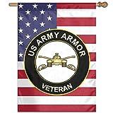 Eriesy Flagge Fahnen US Army Veteran Armor Flag Garden Flag Family Flag Party Flag 100% Polyester Fiber Vertical Family Flag