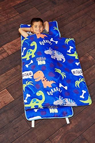 EVERYDAY KIDS - Alfombrilla para siesta con almohada extraíble – Roarin' Dinos – asa de transporte con cierre de correas, diseño enrollado, microfibra suave para preescolar, guardería de día, saco de dormir de viaje, edades de 3 a 6 años
