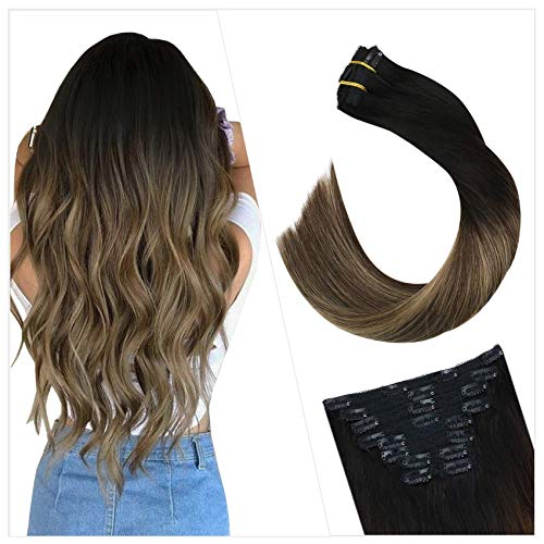 Ugeat Hair Extensions Clip in Human Hair 18inch Clip in Real Human Hair Extensions Balayage Black to Brown with Blonde...