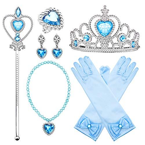 Comius Sharp Prinzessin Kostüm Zubehör Set, 8 Stück Prinzessin Verkleiden Geschenk Prinzessin Krone Zauberstab Handschuhe Ohrring Halskette Ring Prinzessin Schmuck (Blue)