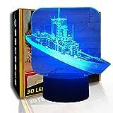 KangYD 3D Luz nocturna Frigate Ship Carrier, lámpara de mesa LED Illusion, B- Base negra remota (7 colores), USB alimentado, Decoración del hogar