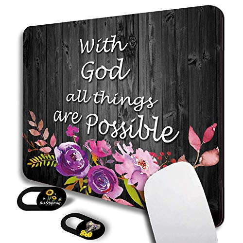 Mouse Pad, with God All Things are Possible Floral Gaming Mouse Pads Non-Slip Rubber Base Mouse Mats for Laptop Computers and Office, Rectangle Cute Mousepad and Webcam Cover Slider