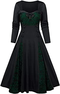 ★ Futurelove ★ ⭐ Gothic Halloween Skeleton Print Long Sleeve Patchwork Dress Vintage Lace Button Swing Pleat Midi Dress