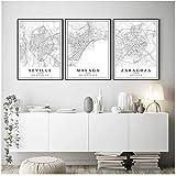 DLFALG Mapa de la ciudad de España Málaga Sevilla Zaragoza lienzo pintura pared arte impresiones carteles estética sala de estar decoración del hogar-40x60cmx3 sin marco