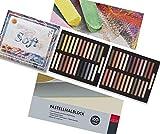 Juego de pinturas pastel (juego A, 50 tonos cálidos y bloc de colores pastel, A4)